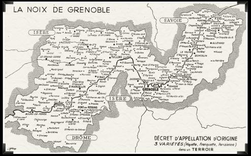 Carte AOC Noix de Grenoble