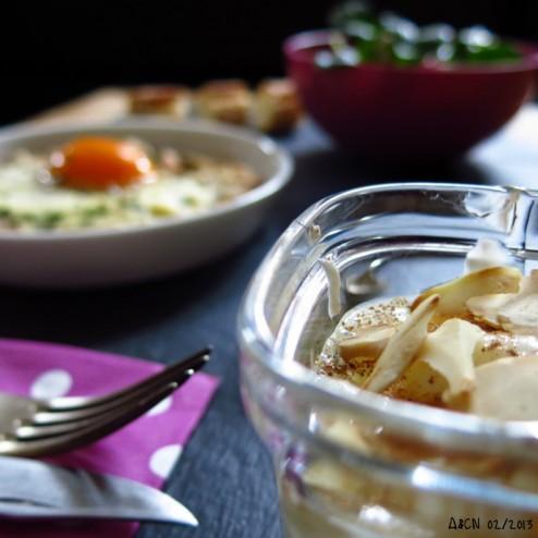 Midi solo oeuf au plat salade mache