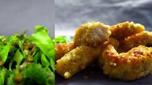 Poulet pané et salade verte aux lentilles