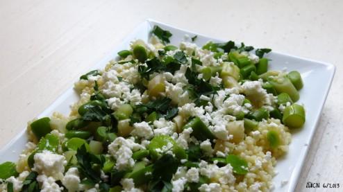 Salade de pâte asperge fève citron