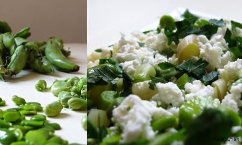 Salade de pâtes citron asperge fève