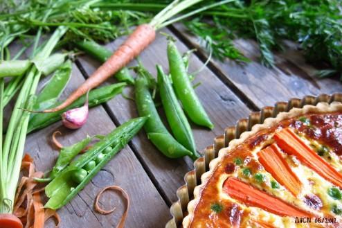 Tarte carottes petits pois nouveaux