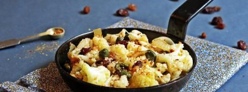 Chou-fleur sauté piment, raisins secs et câpres