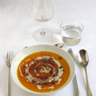 Soupe butternut, potimarron, gorgonzola et cacao