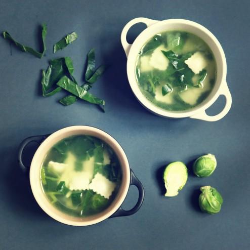 Soupe verte aux ravioles façon minestrone