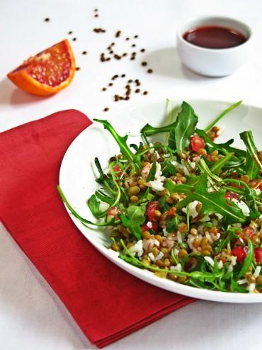 Salade lentille blonde de Saint-flour, vinaigrette de sanguine