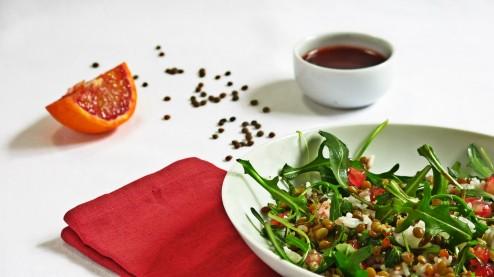 Salade lentilles blondes de Saint-flour, vinaigrette de sanguine