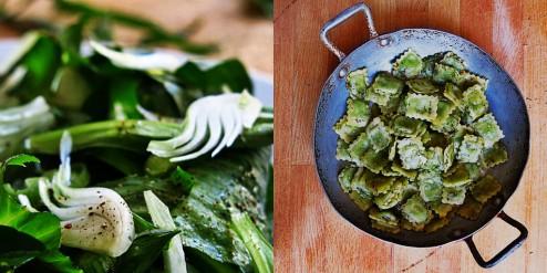 salade verte aux herbes fraiches et ravioles poêlées