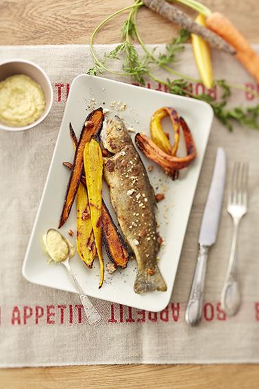 truite fario, carottes rôties, mousseline aux noisettes