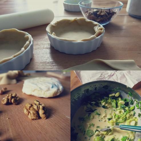 Préparation tartelettes aux poireaux