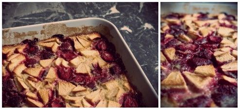 clafoutis fraises et pommes