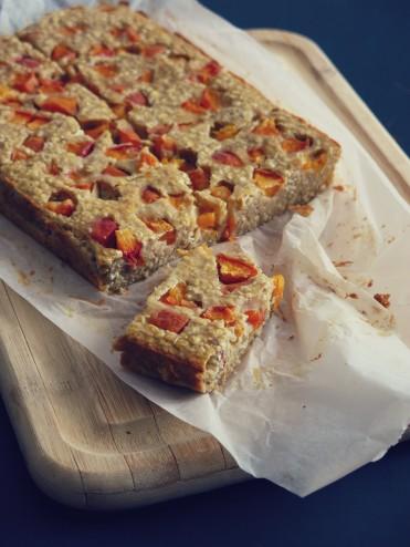 barres moelleuses  aux flocons d'avoine et abricot