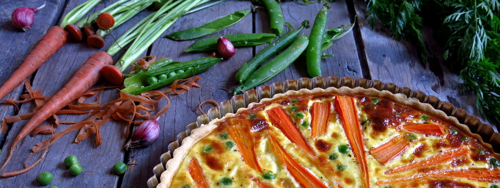 Tarte aux carottes et petits pois nouveaux - Comment cuisiner des petit pois en boite ...