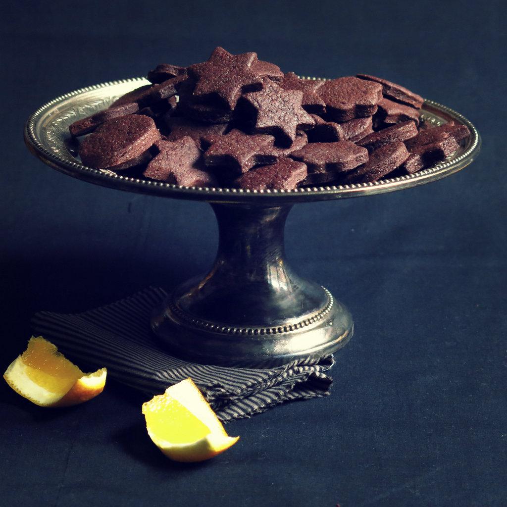 Biscuits cacao et salade d'orange au sirop d'Ouzo