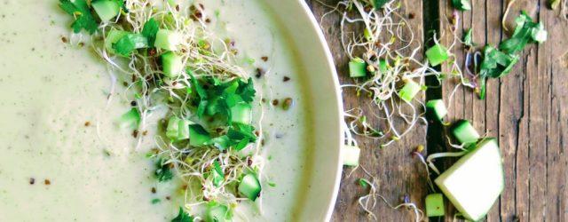 Soupe froide courgette et tofu soyeux